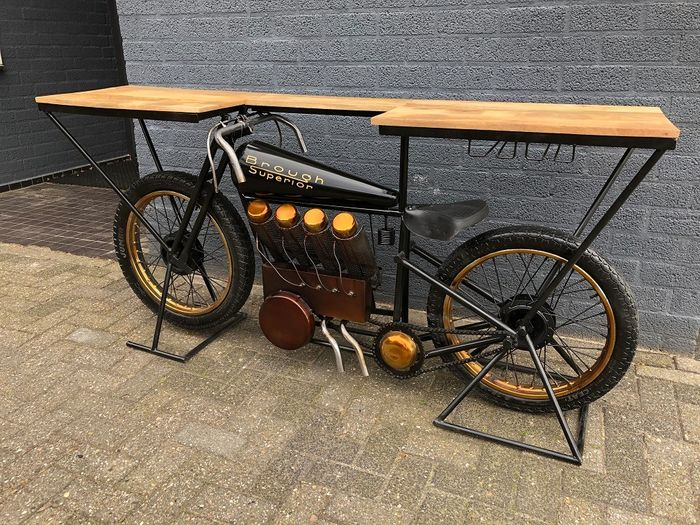 Beautiful sidetable, decorative table, bar table on motorbike with wine rack, great and unique !!