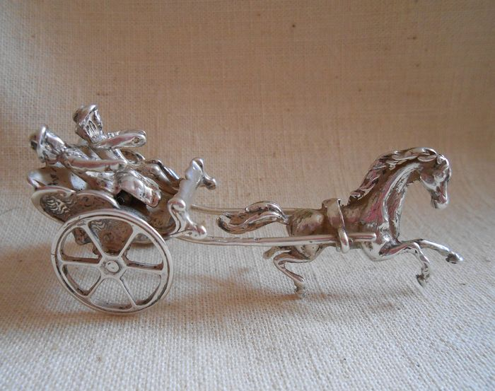 C. Stout in Rotterdam - Large Dutch handmade silver miniature horse and carriage - .835 silver