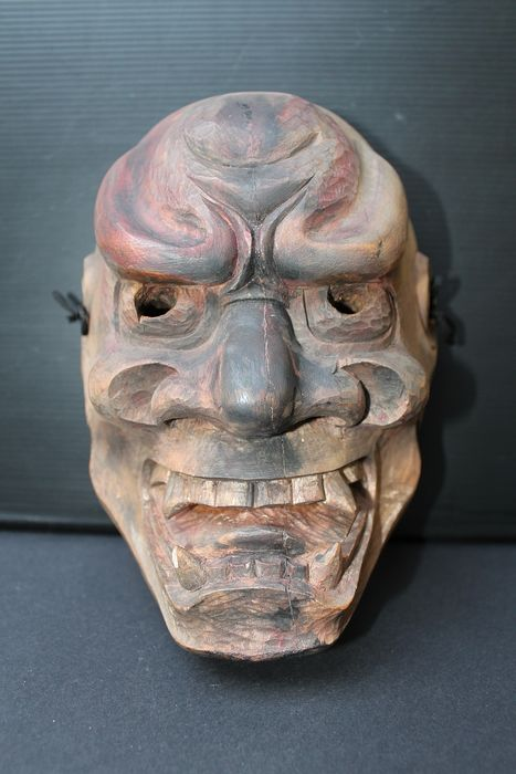 Noh mask - Wood - Shikami - mit Siegel - Japan - Meiji period (1868-1912)