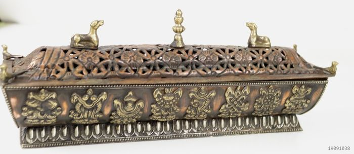 Incense burner richly decorated - Copper - Nepal - Late 20th century