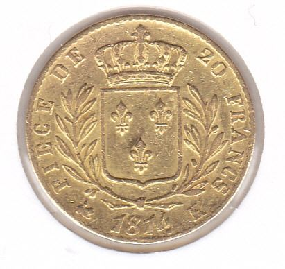 20 Francs 1814 K Louis XVIII  - Or