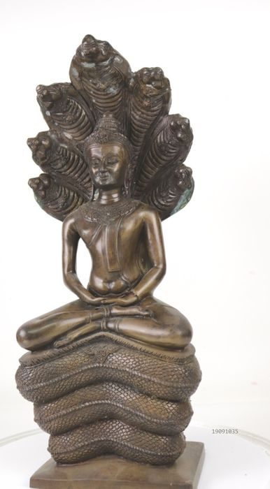 Beautiful large bronze statue with a Buddha on a Naga throne - Bronze - Thailand - Second half 20th century