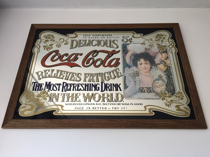 Coca Cola - Large model mirror 88x63cm 50s (1) - Glass, Wood