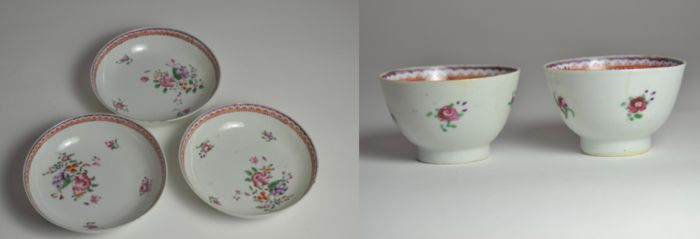 Famille rose three saucers and two cups (5) - Porcelain - China - Qianlong (1736-1795)