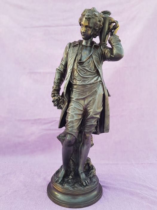 Sculpture, young boy (1) - Spelter - Early 20th century