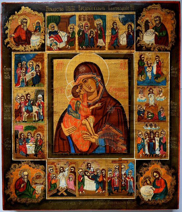 Russian icon. Our Lady of Don and 12 Great Feasts, handpainted - Icon - tempera, wood