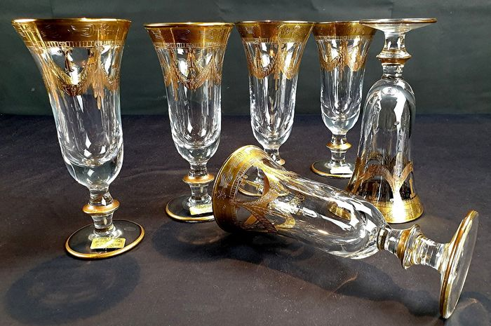 Cristal T. - Flute chalices (6) - Crystal