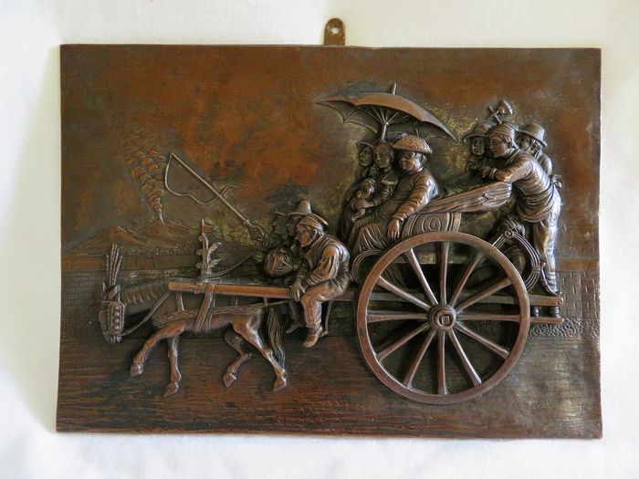 Neapolitan carriage, after Giacomo Lenghi Calesso - Copper