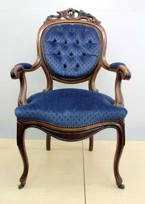 Voltaire with blue upholstery and blackened details - Fruitwood