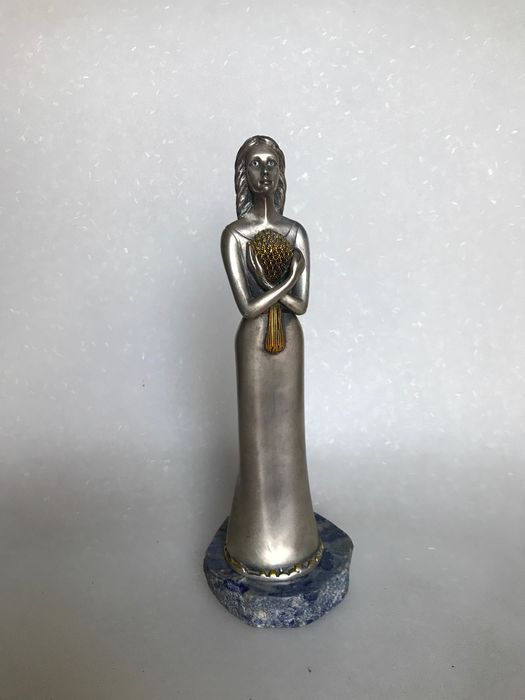 Sculpture Lady with the bouquet signed Ottaviani (1) - .800 silver