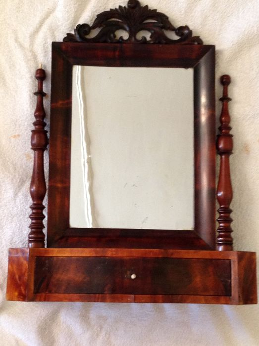 Standing mirror with drawer - Louis Philippe - Wood