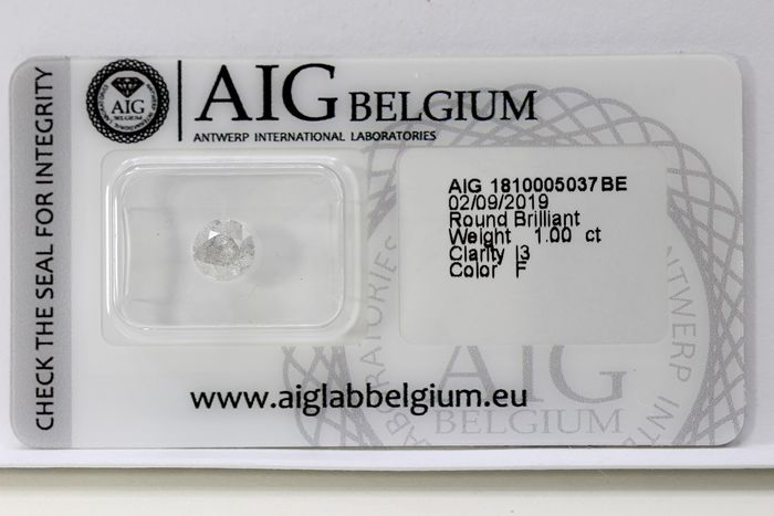 Diamond - 1.00 ct - Brilliant - F - I3 (piqué), * NO RESERVE PRICE *