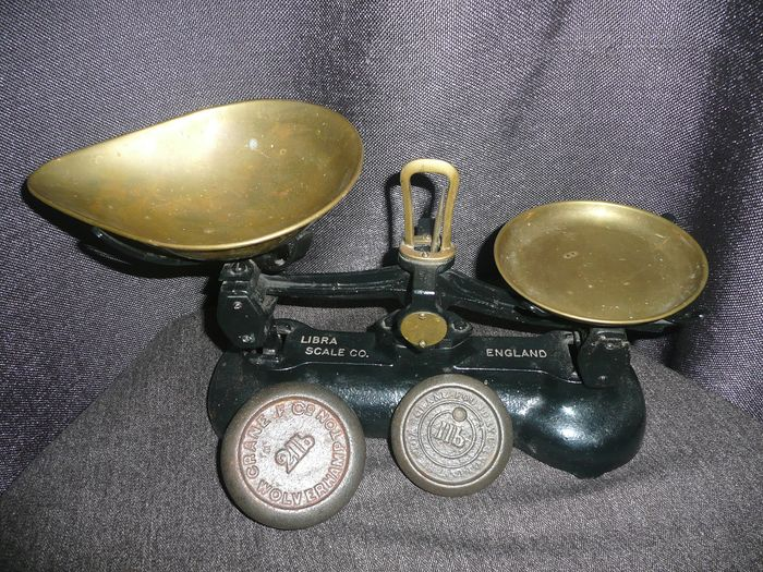 Libra company, Wolverhampton - kitchen scale with two antique grain weights - iron, copper