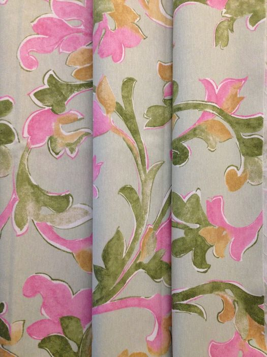 m2,80 x2,65  tessuto panama stile art nouveau - floral decorations on an aquamarine base - Contemporary - cotton blend
