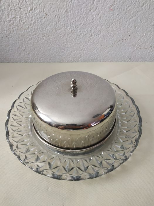 Cheese dish - Crystal, silver-plated lid