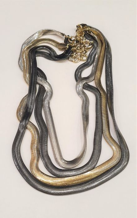 DONNA KARAN -New York  Haute Couture Exclusive multi strands Snake chain Necklace