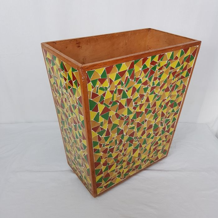 Large umbrella stand with mosaic - Wood / glass