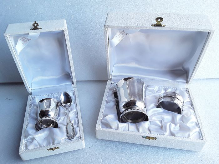 Two baptism cases - Silver-plated metal