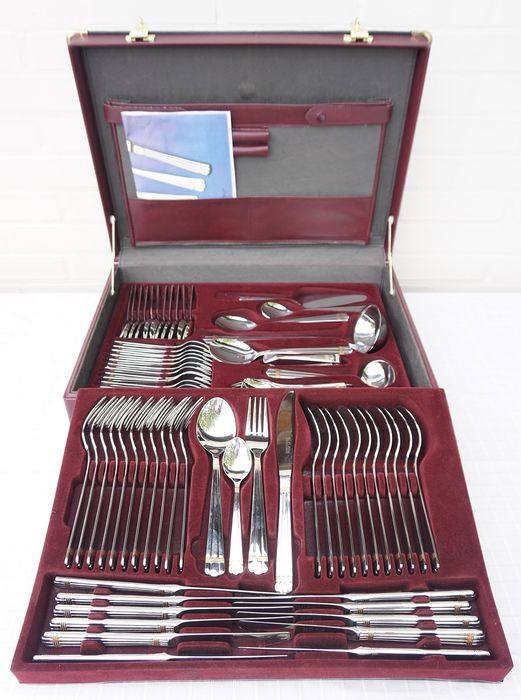 Solingen 70 piece cutlery with 24 carat gold-plated decoration - stainless precious metal