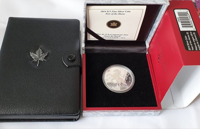 Canada - 15 Dollar 2014 'Year of the Horse' + Yearsets (Proof) 1981 'Railroad""