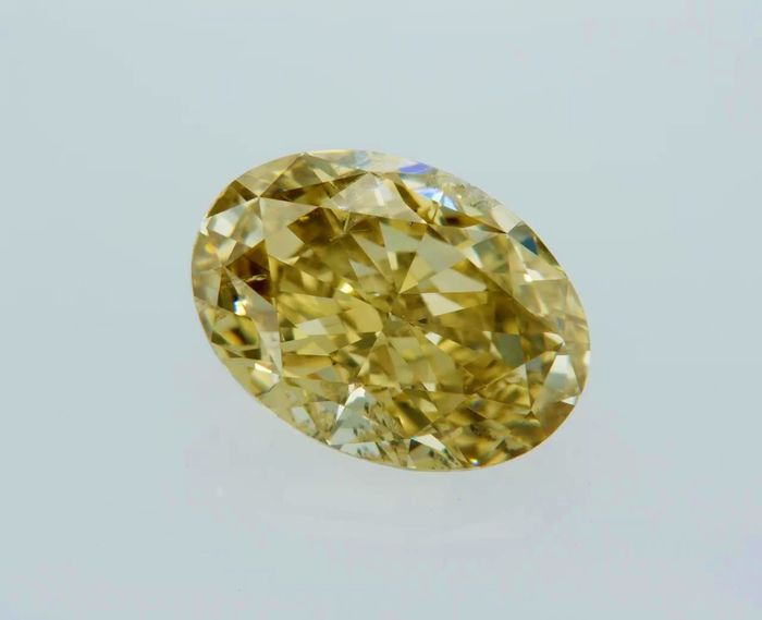 1 pcs Diamant - 2.02 ct - Ovaal - fancy deep brownish yellow - VS2