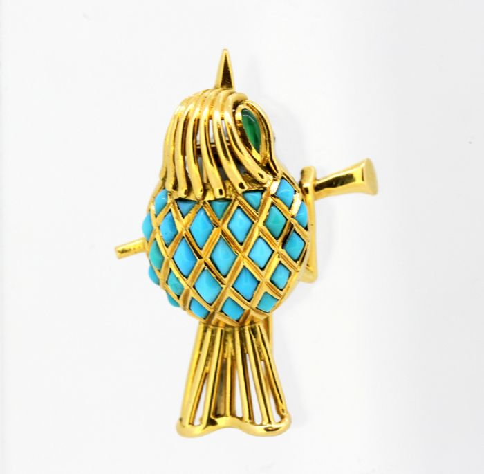 Mauboussin - 18 carats Or jaune - Broche - Turquoises
