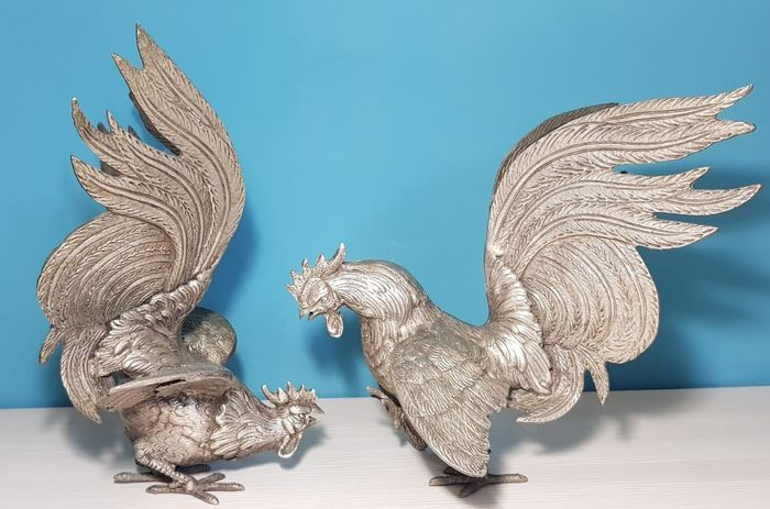 Fighting roosters (2) - Pop Art - Silver Iron