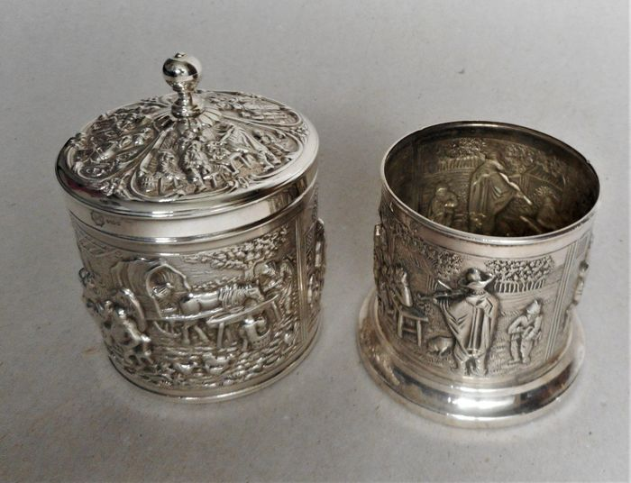 Tea caddy with lid - Teaspoon holder (2) - silver plated HH 90