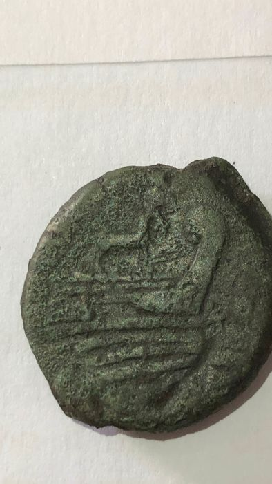 Romeinse Republiek - Anonymous Æ As (29,48g), after 211 BC, donkey above of galley - Brons
