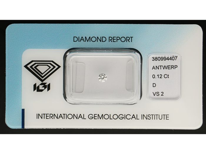 1 pcs Diamant - 0.12 ct - Brillant - D (incolore) - VS2 ***No Reserve***
