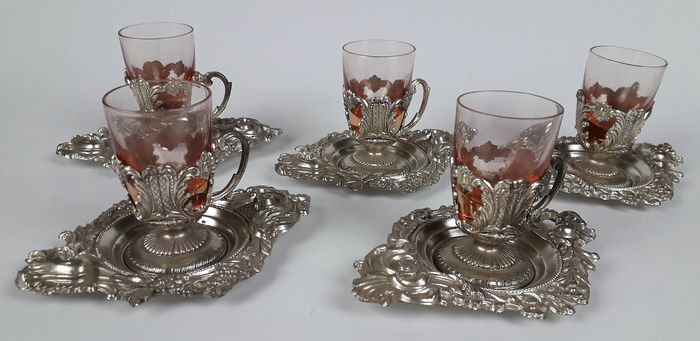 Gilt Set of Pink Glasses - Silver plated