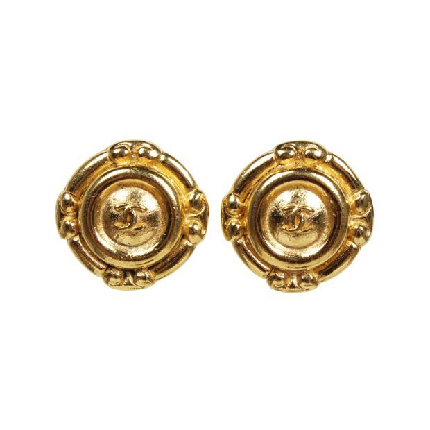 Chanel - Vintage CHANEL 1970's Gold Plated CC Logos Clip Earrings Weekend bag