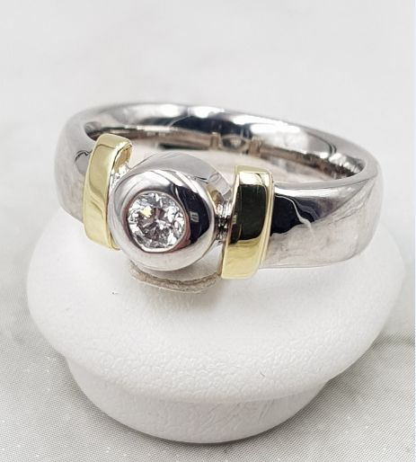 14 kt. Bicolour, White gold, Yellow gold - Ring - 0.26 ct Diamond