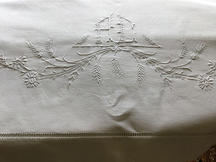 FRENCH VICTORIAN  LINEN BED LINEN - Linen - Early 20th century