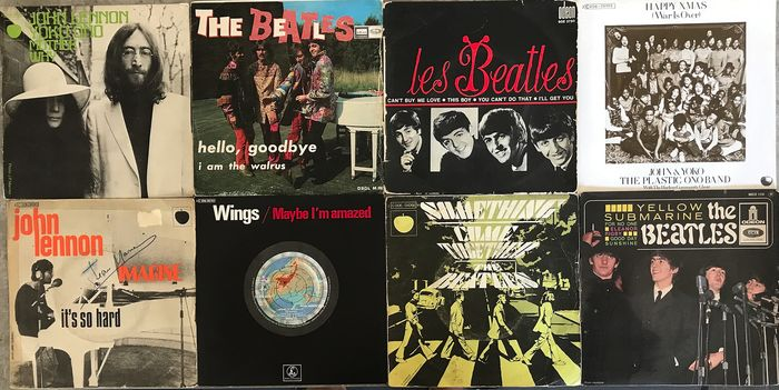 "Beatles, John Lennon & Related, Wings - 8x Singles - Multiple titles - 45 rpm Single, EP-10""inch - 1964/1977"