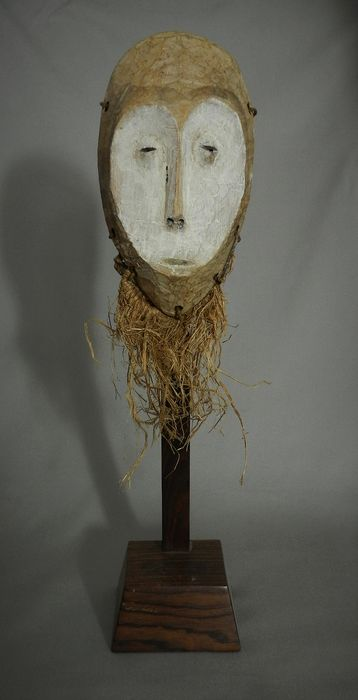Mask (1) - Wood and Kaolin - Lukwakongo - Lega - DRC Congo