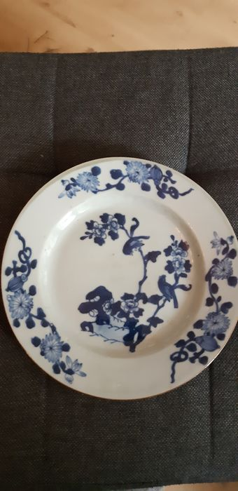 Plate (1) - Blue and white - Porcelain - blossom - China - 18th century