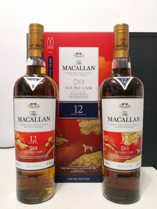 Macallan 12 years old Double cask 2018 Year of the Dog Limited Edition - 2 x 0.7L