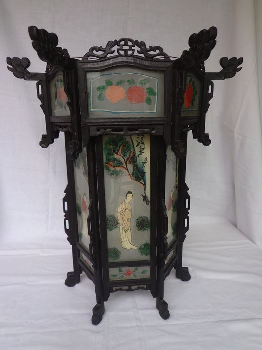 Large Chinese lantern/pendant lamp with stained glass - Glass, Wood