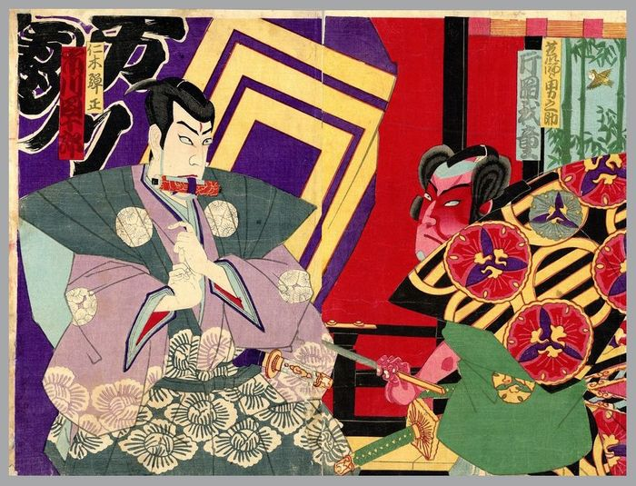 Diptych, Original woodblock print - Vermoedelijk Toyohara Chikanobu (1838-1912) - Kabuki actors Ichikawa Danjuro as the evil Nikki Danjo and Kataoka Gado as Arajishi Otoko-no-suke - ca 1880