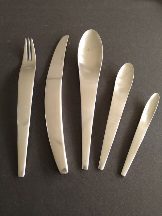 EBEL SOLINGEN - decorative 26-piece, unused fish cutlery for 12 people - Stainless steel 23/24 carat gold plated - with certificate - in original case