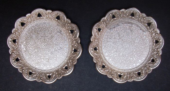 Brevettato - Vintage Pair of  Bottle Coasters (2) - Silver plated