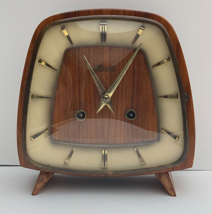 Clock (1) - Art Deco - Glass, Wood, brass