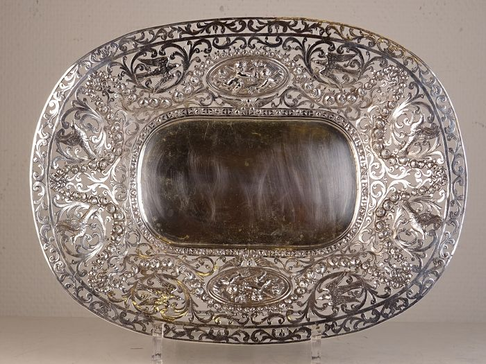 Reticulated tray  - .835 silver - Possibly Germany - Early 20th century