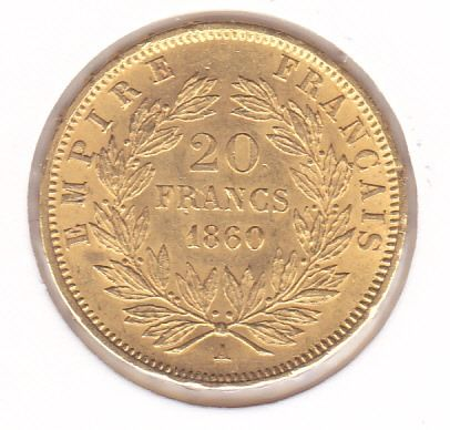 20 Francs 1860 A Napoleon III - Or