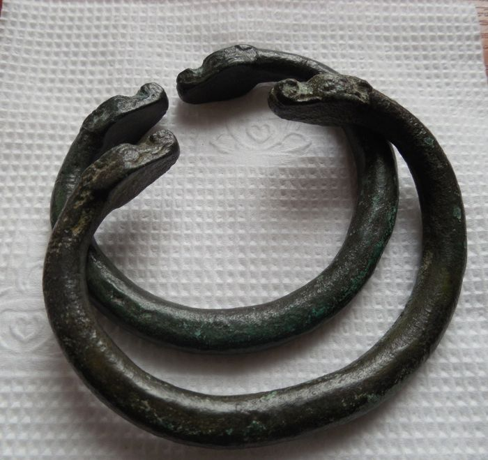Early medieval Bronze pair of zoomorphic bracelets - (2)