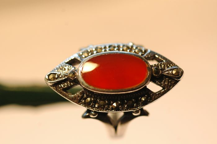 925 Silver - Ring Carnelian - Marcasite
