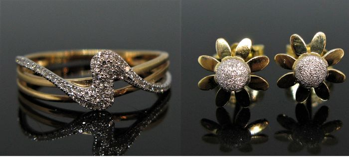 18 quilates Oro amarillo, Oro blanco - Anillo, Pendientes - 0.11 ct Diamante