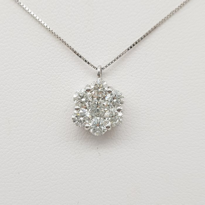 HRD Certificate - no reserve price - 18 kt. White gold - Necklace with pendant - 0.95 ct Diamond