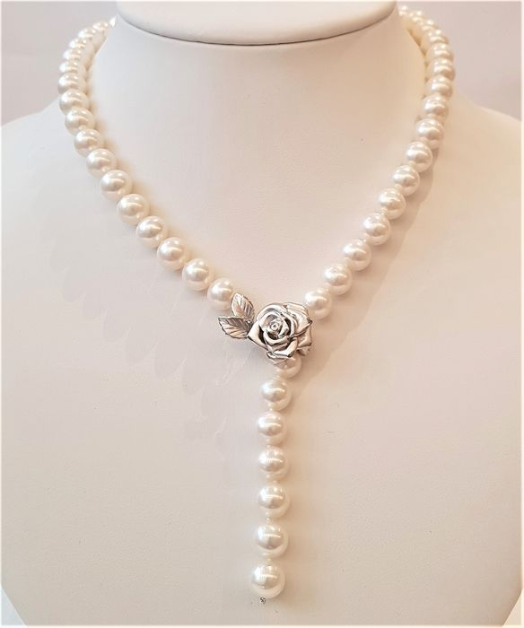 no reserve - 925 Silver - 9x10mm Lustrous Freshwater Pearls - Necklace